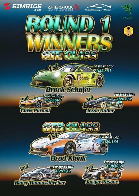 Round 1 Winners for the Australian Endurance eChampionship.  GTE Standings: 1. Brock Schafer // Porsche 911 RSR       2. Chris Purnell // Ford GTE 3. Jesse Bulter // Porsche 911 RSR  GT3 Standings: 1. Brad Klenk (GT3) // Ferrari 488 GT3 2. Henry Thomas-Kircher // Ferrari 488 GT3 3. Jaeger Pascoe // Mercedes AMG GT3
