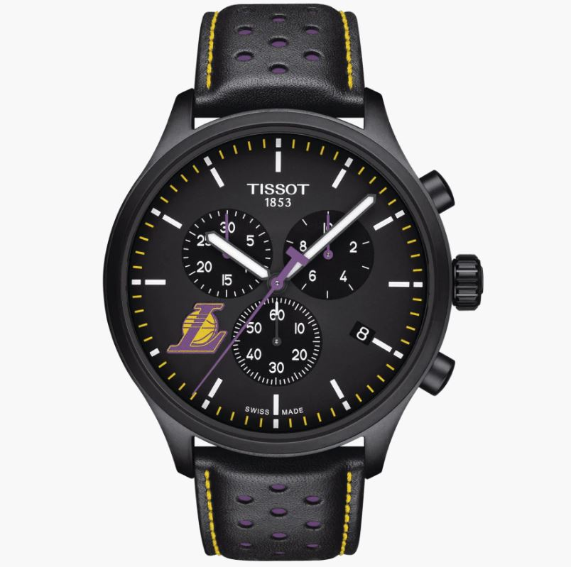 An image of the Tissot Chrono XL NBA Teams Special Los Aneles Lakes Edition Watch.