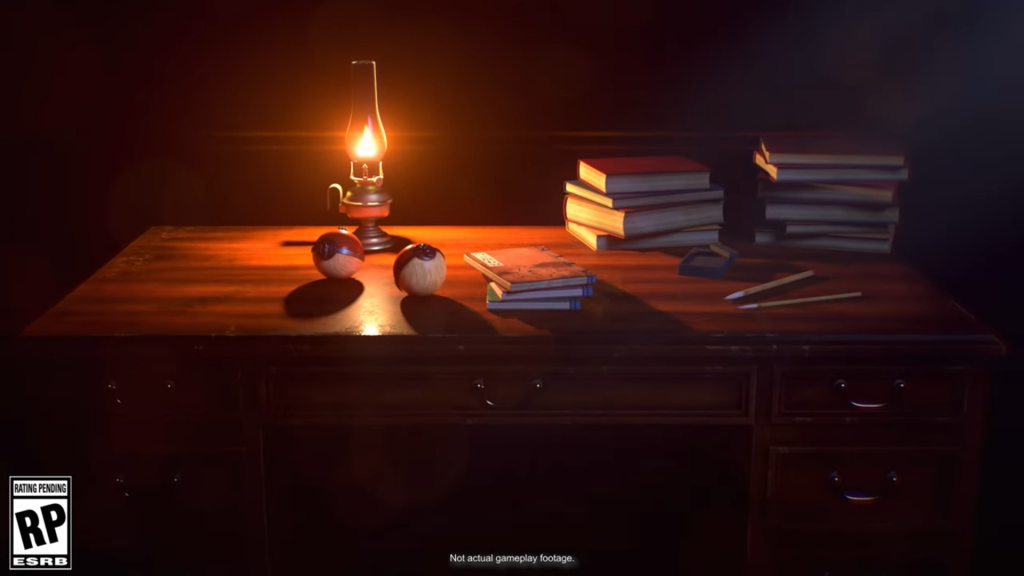 Desk with an oil lamp and old books on it, along with very early Pokeballs