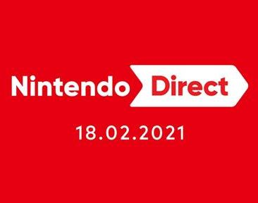 Red background with white text that reads Nintendo Direct 18 February 2021