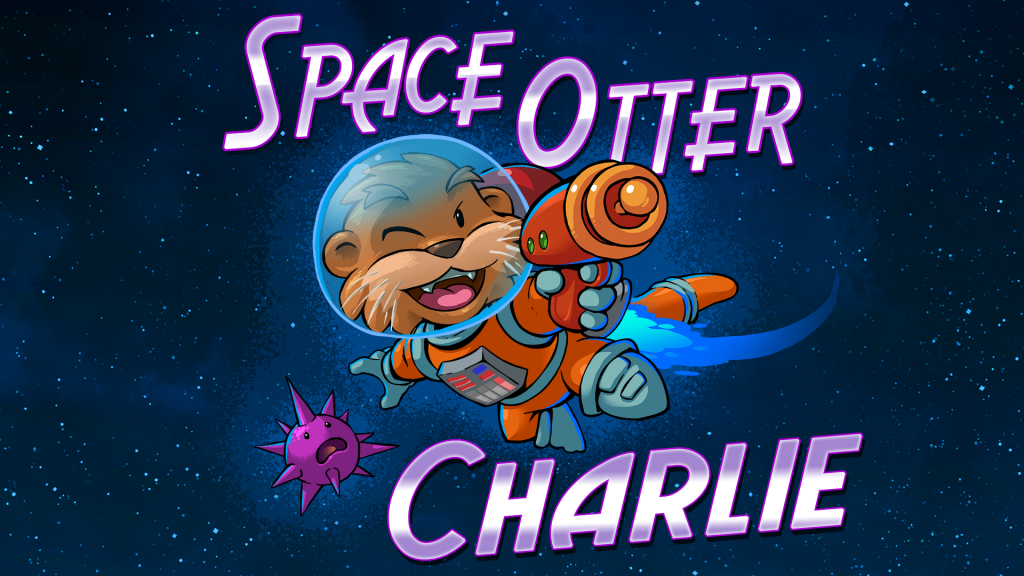 """Cartoon otter in space suit in the middle of text """"Space Otter Charlie"""""""