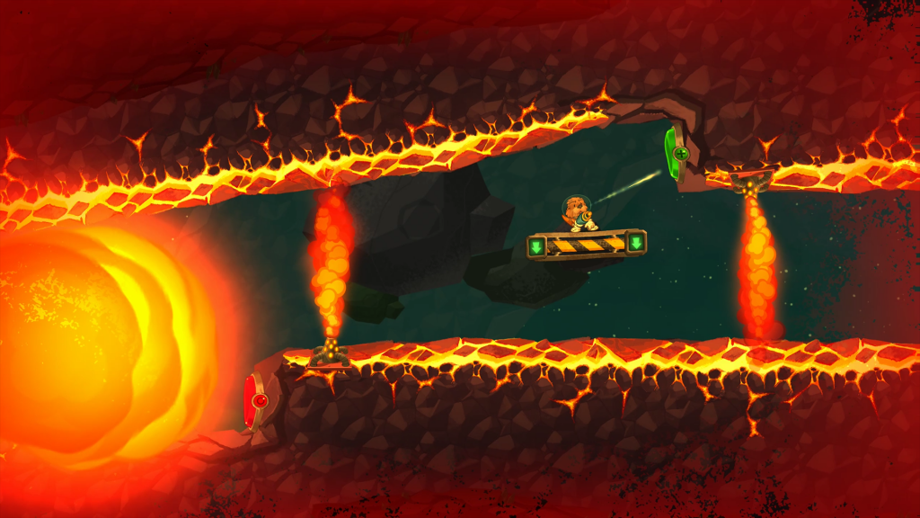 Space Otter Charlie on a platform surrounded by lava, being chased by a big fireball