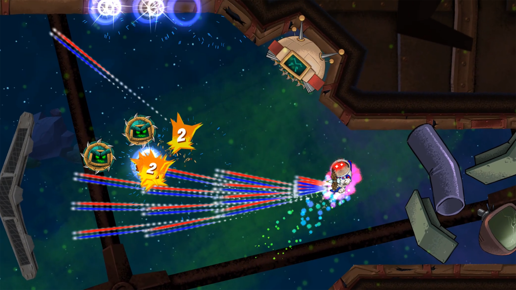 Space Otter Charlie firing a colour weapon at circular enemies while floating