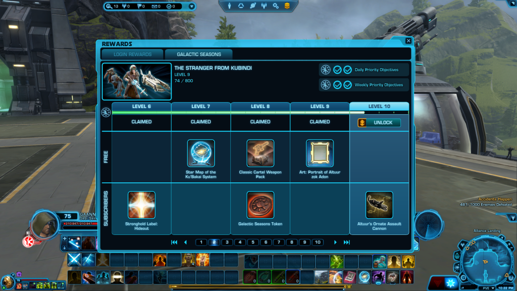 Rewards track for SWTOR's Galactic Seasons