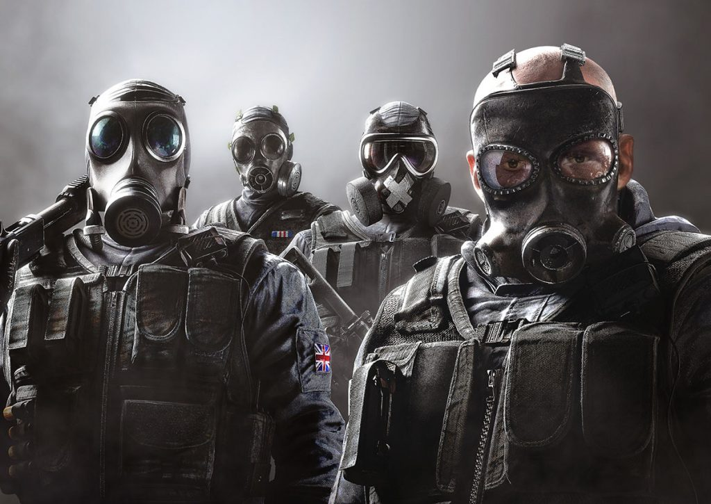 Four operators from Rainbow Six: Siege. They are all wearing full face gas masks and black, bulletproof vests.