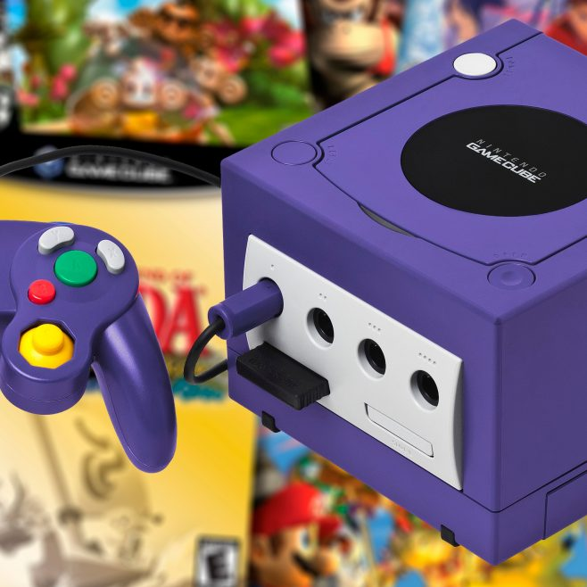 GameCube and controller on background of GameCube games